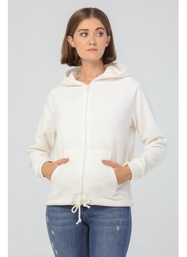 Modaset Kapüşonlu Polar Sweatshirt Ekru Beyaz
